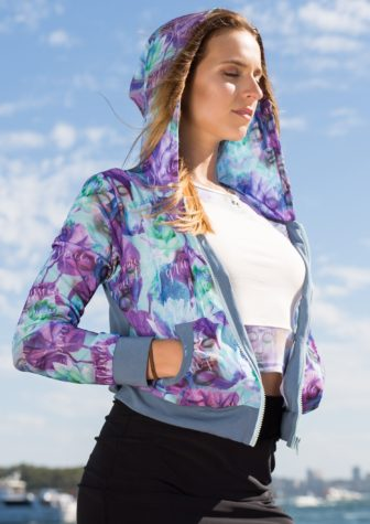 Hoodie – Grey with lightweight purple pattern mesh inlay & grey details