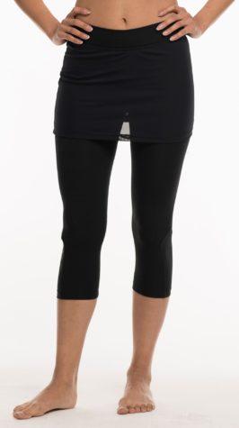 Pants 3/4 length Black & Black mesh skirt and leg inlay