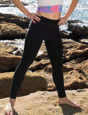 Full length black pants, with black mesh skirt