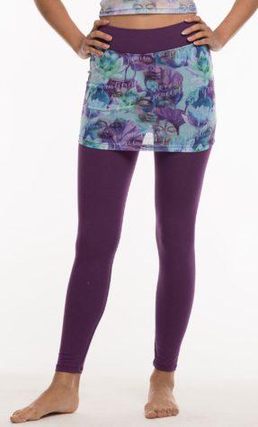Full length purple pants, with purple pattern mesh skirt