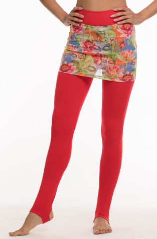 Full length red pants with arch stirrup, and red pattern mesh skirt