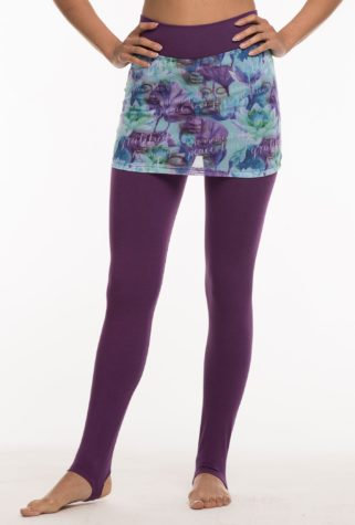 Full length purple pants with arch stirrup, and purple pattern mesh skirt