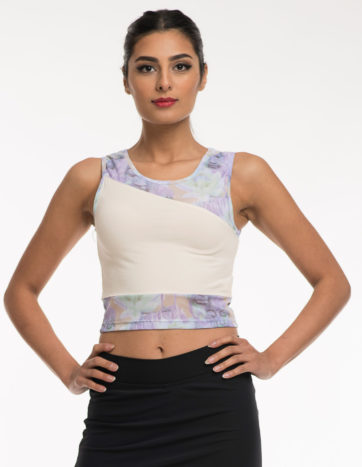 Yoga wear Tops, off white tank, with lightweight purple pattern mesh inlay